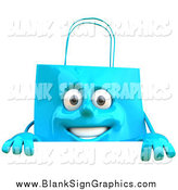 Vector Illustration of a 3d Happy Blue Shopping Bag Character Smiling over a Sign by Julos