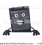 Vector Illustration of a 3d Happy Computer Tower Character Standing Behind a Blank Sign by Julos