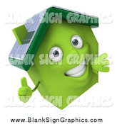 Vector Illustration of a 3d Happy Green Solar Home Holding a Thumb up Around a Sign by Julos