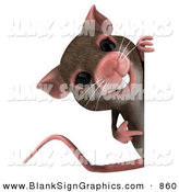 Vector Illustration of a 3d Happy Mouse Character Pointing to and Looking Around a Blank Sign by Julos