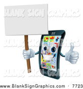 Vector Illustration of a 3d Happy Touch Screen Smart Cell Phone Holding a Thumb up and Sign by AtStockIllustration