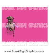 Vector Illustration of a 3d House Fly over a Blank Pink Sign by Ralf61