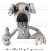 Vector Illustration of a 3d Jack Russell Terrier Dog Character Gesturing the Thumbs up and Standing Behind a Sign by Julos