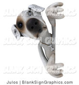 Vector Illustration of a 3d Jack Russell Terrier Dog Character Peeking Around a Sign by Julos