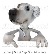 Vector Illustration of a 3d Jack Russell Terrier Dog Character Pointing down at and Standing Behind a White Sign by Julos