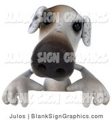 Vector Illustration of a 3d Jack Russell Terrier Dog Character Standing Behind a White Sign by Julos
