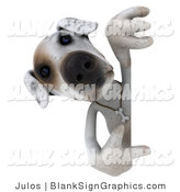 Vector Illustration of a 3d Jack Russell Terrier God Character Pointing and Looking Around a Sign by Julos