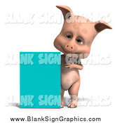 Vector Illustration of a 3d Pig with a Turquoise Sign by Ralf61