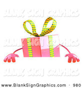 February 20th, 2013: Vector Illustration of a 3d Pink Gift Character Standing Behind a Blank Sign by Julos