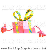 Vector Illustration of a 3d Pink Gift Character Standing Behind a Blank Sign by Julos