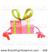 Vector Illustration of a 3d Pink Gift Character Standing Behind a Blank White Sign by Julos