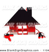 Vector Illustration of a 3d Red Chrome Home Character Pointing down and Standing Behind a Blank Sign by Julos