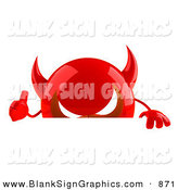Vector Illustration of a 3d Red Devil Head Character Gesturing the Thumbs up and Standing Behind a Blank Sign by Julos