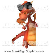 Vector Illustration of a 3d Red Dragon with Sunglasses, Pointing Around a Sign by Julos