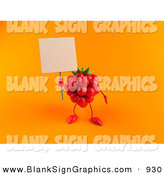 Vector Illustration of a 3d Red Raspberry Character Holding up a Blank Sign on Orange by Julos