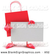 Vector Illustration of a 3d Red Shopping Bag Pointing at and Holding a Blank White Business Card by Julos