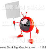Vector Illustration of a 3d Red Square Television Character Holding up a Blank Sign by Julos