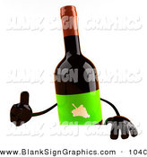 Vector Illustration of a 3d Red Wine Bottle Character Giving the Thumbs up and Standing Behind a Blank Sign by Julos