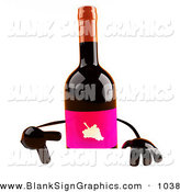 Vector Illustration of a 3d Red Wine Bottle Character Pointing down at and Standing Behind a Blank Sign by Julos