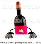 Vector Illustration of a 3d Red Wine Bottle Character Standing Behind a Blank Sign by Julos