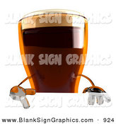 Vector Illustration of a 3d Root Beer Character Gesturing a Peace Sign and Standing Behind a Blank White Sign by Julos