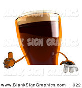 Vector Illustration of a 3d Root Beer Character Giving the Thumbs up and Standing Behind a Blank White Sign by Julos