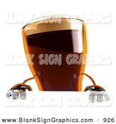 Vector Illustration of a 3d Root Beer Character Standing Behind a Blank Advertising Sign by Julos