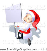 Vector Illustration of a 3d Santa Character Holding up a Blank Sign on a Post and Looking Left by Julos
