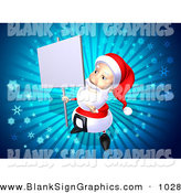 Vector Illustration of a 3d Santa Character Holding up a Blank Sign on a Post over Blue by Julos