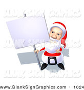 Vector Illustration of a 3d Santa Character Holding up a Blank Sign on a Sign Post by Julos