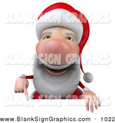 Vector Illustration of a 3d Santa Character Pointing down and Standing Behind a Blank White Sign by Julos