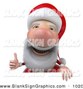 Vector Illustration of a 3d Santa Claus Character Giving the Thumbs up and Standing Behind a Blank Sign by Julos