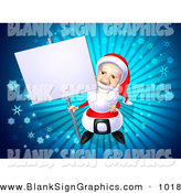 Vector Illustration of a 3d Santa Claus Character Holding up a Blank Sign on a Post by Julos