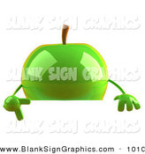 Vector Illustration of a 3d Shiny Green Apple Character Pointing to and Standing Behind a Blank Sign by Julos