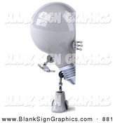 Vector Illustration of a 3d Shiny Lightbulb Character Looking Around a Blank Sign by Julos