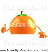 Vector Illustration of a 3d Shiny Naval Orange Character Giving the Thumbs up and Standing Behind a Blank Sign by Julos