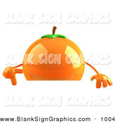 Vector Illustration of a 3d Shiny Naval Orange Character Pointing down at and Standing Behind a Blank Sign by Julos