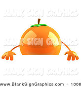 Vector Illustration of a 3d Shiny Naval Orange Character Standing Behind a Blank Sign over White by Julos
