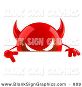 Vector Illustration of a 3d Shiny Red Devil Head Character Giving the Peace Sign and Standing Behind a Blank Sign by Julos