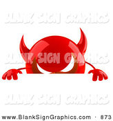 Vector Illustration of a 3d Shiny Red Devil Head Character Standing Behind a Blank White Sign by Julos