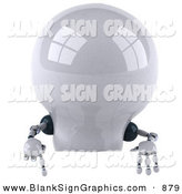 Vector Illustration of a 3d Shiny Robotic Lightbulb Character Pointing down at and Standing Behind a Blank Sign by Julos