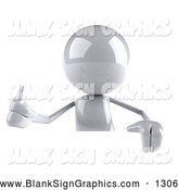 Vector Illustration of a 3d Shiny White Character Giving the Thumbs up and Standing Behind a Blank Sign by Julos