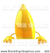 Vector Illustration of a 3d Shiny Yellow Banana Character Standing Behind a Blank Sign by Julos