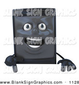 Vector Illustration of a 3d Smiling Computer Tower Character Pointing down and Standing Behind a Blank Sign by Julos