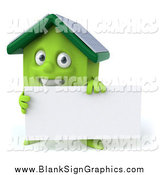 Vector Illustration of a 3d Solar Powered Green House with a Sign by Julos