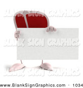 Vector Illustration of a 3d Steak Character Holding a Blank Business Card in Front by Julos
