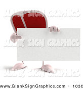 Vector Illustration of a 3d Steak Character Holding a Blank Business Card on White by Julos
