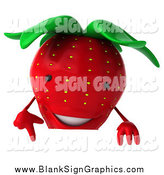 Vector Illustration of a 3d Strawberry Pointing down at a Sign by Julos