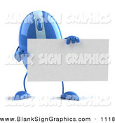 Vector Illustration of a 3d Striped Blue Computer Mouse Character Holding a Blank Business Card by Julos