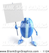 Vector Illustration of a 3d Striped Blue Computer Mouse Character Holding up a Blank Sign by Julos